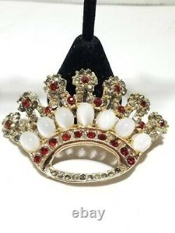 Vintage estate Crown Jewel Pin Brooch and earrings Crystal Rhinestones