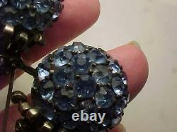 Vintage heavy pennino sterling silver blue and clear rhinestone pin / brooch