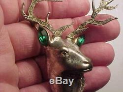Vintage large sterling silver and clear rhinestone deer pin / brooch