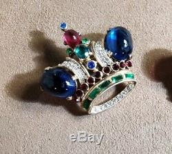 Vintage original jewel toned gold plated sterling Trifari crown pin brooch
