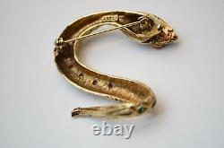 Vintage reptile snake serpent cobra brooch pin antique gold Mens Womens Jewelry