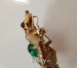 Vintage signed KENNETH JAY LANE Brooch Pin Pendant RHINESTONES Red Green Clear