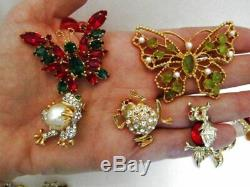 Vintage to Now Brooch Pin Lot 33 Pc Rhinestone Deco Figural Signed Unsigned