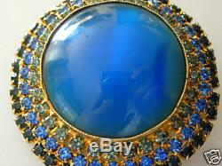 Vintageaustriasignedbluegrn Rhinestone Dome Brooch