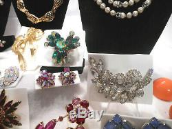 Vntg 38 Pc Lot High End Rhinestone Designer Costume Jewelry Brooches Necklaces &