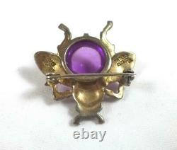 Vntg CROWN TRIFARI A. Philippe Jelly Belly Sterling Fly Brooch-Rare Purple Color