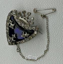 Vtg 1880s Auguste Besson French Solid Silver Paste Heart Brooch Naval Anchor Pin