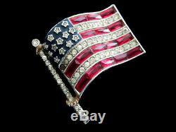 Vtg 1940's Crown Trifari Rhinestone Enamel Patriotic American Flag Pin Brooch