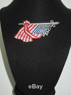 Vtg 1940s Large Rhinestone Enamel Draped American Flag Pin Brooch Patriotic Rare