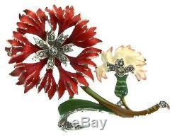 Vtg 1940s PHILIPPE TRIFARI Enamel Rhinestone FLOWER Figural Fur Clip Brooch Pin