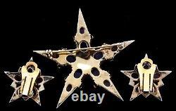 Vtg 1950s BOUCHER Star Figural Cabochon Rhinestone Brooch Pin Earrings SET