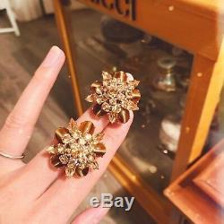 Vtg 1960 Christian Dior Tiger Eye&Amber Rhinestones Floral Brooch &Earrings Set