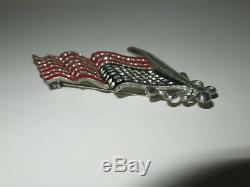 Vtg 40's Rhinestone Enamel Figural AMERICAN FLAG Pin Brooch WWII 48 Star Flag 3