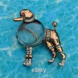 Vtg 40s Trifari Alfred Philippe Sterling & Clear Lucit Jelly Belly Poodle Brooch