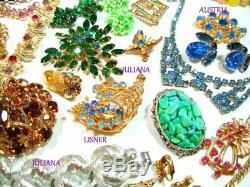 Vtg 58 Designer+antique Rhinestone Lot Juliana Coro Lisner Austria Brooch Sets