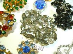 Vtg All Rhinestone Brooch Necklace Bracelet Lot Juliana Austria La Rel Weiss Set
