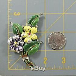 Vtg Antique Crown Trifari Enamel Flower Floral Fur Clip Pin Brooch Enamel Loss