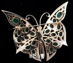 Vtg BOUCHER Butterfly Figural Rhinestone Emerald Green Cabochon Brooch Pin