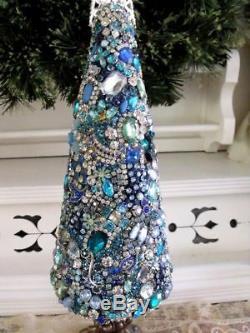 Vtg Blue Rhinestone Jewelry Christmas Tree, Earrings Brooches