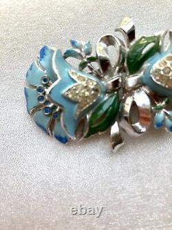 Vtg CORO Blue Enamel & Rhinestone Lotus Flower Duette Brooch! Pat # 1798867