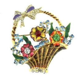 Vtg CORO CRAFT Sterling Goldplated Enamel Rhinestone FLOWER BASKET Brooch Pin