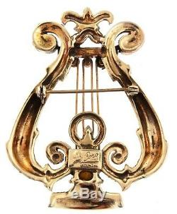 Vtg CORO Sterling Vermeil Rhinestone LYRE Harp Figural Brooch Pin BOOK PIECE