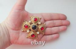 Vtg Cabachon Gripoix Mogul Rhinestone Pearls Large Maltese Cross Pin Brooch Rare