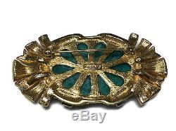 Vtg Ciner Brooch Green Peking Glass Art Deco Style Goldtone Rhinestone Enamel