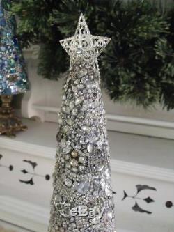 Vtg Clear Rhinestone Jewelry Christmas Tree, Earrings Brooches