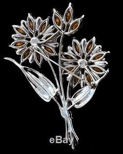 Vtg Collector Quality 4 CORO Dbl Flower Figural Enamel Rhinestone Brooch Pin