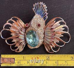Vtg Coro-Craft ROCK FISH Sterling Enamel Brooch Pin Gold Toned Rhinestone