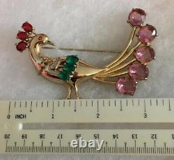 Vtg Coro Peacock Brooch Pin Adolph Katz 1940s Jewelry Color Rhinestones C17
