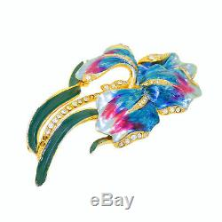 Vtg Coro Signed Rhinestone Enamel Iris Flower Pin Brooch Pink Blue 100% Orginal