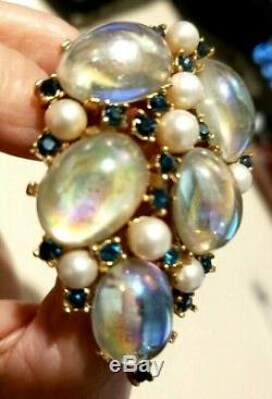 Vtg Crown TRIFARI A. PHILIPPE MOONSTONE Brooch with Pearls & Sapphire Rh-stones