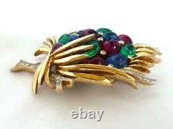 Vtg Crown TRIFARI Jewels of India Faux Gem Cabochons & Rhinestone Moghul Brooch