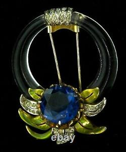 Vtg DEROSA Art Deco Glass Ring Floral Enamel Rhinestone Fur Pin Clip Brooch