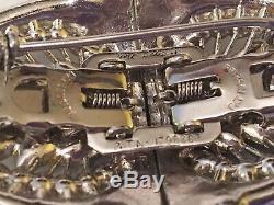 Vtg Deco CORO DUETTE Silver Clear & Blue Rhinestone Brooch Pin Fur Clip Pat Pend