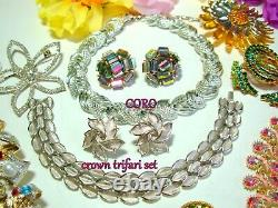 Vtg Designer Rhinestone Brooch Bracelet Lot Juliana Weiss Coro Crn Trifari 5 Set