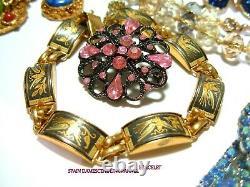 Vtg Designer Rhinestone Brooch Bracelet Necklace Lot Juliana Coro Nolan Miller