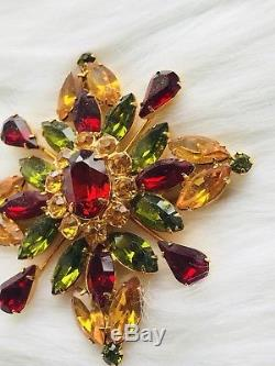 Vtg Eisenberg Ice Signed 3 Color Prong Set Crystal Rhinestone Brooch Pin Rare