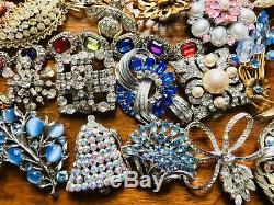 Vtg Estate Designer Rhinestone jewelry Brooch lot Of 81 Givenchy Kramer Weiss