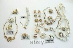 Vtg Gold/White Enamel Rhinestone Lot Earrings Brooch + Signed Coro Trifari Monet
