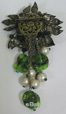 Vtg Jewelry SCHIAPARELLI Brooch Dangles Rhinestones Green Glass Flowers Leaves