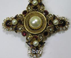 Vtg Jewelry Signed Apex Art Brooch Maltese Cross Faux Pearls Rhinestones RARE