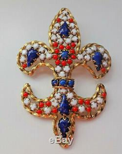 Vtg Juliana 3 Color White Blue Red Rhinestone Fleur de Lis Large Pin Brooch Rare