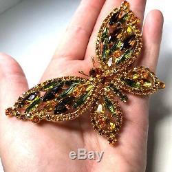 Vtg Juliana Butterfly D & E Large Topaz Orange Fall Colors Rhinestone Brooch
