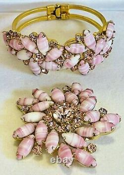 Vtg Juliana D&E Rhinestone Clamper Bracelet Brooch Set Striped Peppermint Pink