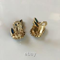 Vtg Juliana D&E Starburst Brooch Earrings Blue Navette AB Rhinestone Demi Parure