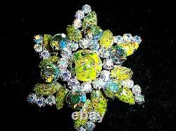 Vtg Juliana D&e Green Harlequin Rhinestone Bracelet Brooch Earring Set Parure