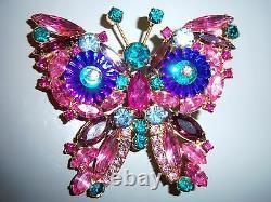 Vtg Juliana D&e Magenta Pink Blue Rivoli Rhinestone Butterfly Figural Brooch